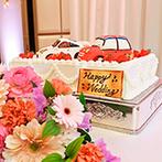 タカクラホテル福岡:ラグジュアリーな空間で美食のおもてなし。ふたりの愛車を見事に再現したウエディングケーキが注目を集めた