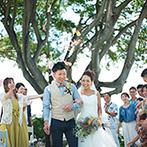 MARRIVEIL THE SPIRE & HIDEAWAY:挙式を行ったハワイの気分をゲストにも。夏×海×BBQと大好きなものを取り入れたパーティを描いた