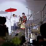 Mia Via:家紋入りの提灯を手に花嫁行列さながらの再入場。デザートビュッフェには、ホッと落ち着くお茶漬けも