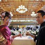ウェスティン都ホテル京都:司会者によるステンドグラスの説明や、美しい景色が目の前に現れる趣向など、空間を活かした披露宴に