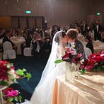 クサツエストピアホテル:ゲスト全員に誓い、証人になってもらう宴内人前式。母からのサプライズメッセージに涙するゲストの姿も