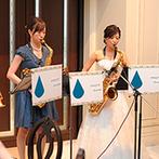 覚王山ル・アンジェ教会:新婦と仲間によるサックス四重奏にゲストも聴き惚れた。ブーケや装花で演出したナチュラルな空間に大満足!