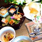 FUNATSURU KYOTO (国登録有形文化財):とっておきの食材を使ったオリジナルのフルコースに舌鼓。料理のおいしさにお酒も進み、ゲストも満面の笑顔