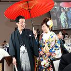 ガーデンテラス長崎 ホテル&リゾート:入場直前の映像も映され、リアルな感動を呼ぶオープニング演出。和洋中が織り成すおもてなし料理に絶賛の声