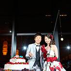 W THE STYLE OF WEDDING:新郎の趣味にちなんで、釣り具と魚のクッキーでファーストバイト。手作り映像にも、釣りの話題を取り入れて