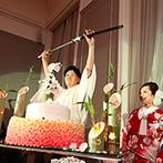 マリエール神水苑:和傘をさして艶やかな和装を披露。竹灯りが照らすケーキや日本刀を使った寸劇など、こだわりが光った