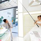 アルカンシエル luxe mariage 名古屋:新郎の趣味にちなんだオリジナルウエディングケーキに視線が集中。釣り竿ファーストバイトでゲストも笑顔に
