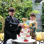 セントジェームスクラブ迎賓館仙台:邸宅風の貸切空間でアットホームなひと時。ガーデンをバックにした和装でのケーキドリップがおしゃれ