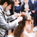 マリーゴールド山口:パーティの後半は再びガーデンへ。美容師のふたりらしいヘアショーの演出に、ゲストのテンションも最高潮!