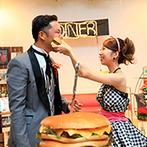 VILLA ESTERIO(ヴィラ エステリオ):オールドアメリカンの薫りが漂うオシャレなパーティ。巨大ハンバーガー入刀&ファーストバイトに視線が集中