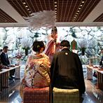 ヴィラ・グランディス ウエディングリゾート FUKUI:独立型神殿「九頭竜殿」で叶った古式ゆかしい神前式。夫婦の誕生を81名のゲストが温かく見守った