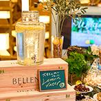 ヴィラ・グランディス ウエディングリゾート FUKUI:会場のいたるところにレモン!ふたりの好きな色で彩ったフレッシュな会場で料理やスイーツを味わった