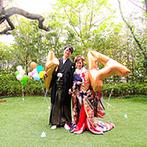 ザ フナツヤ:緑溢れるガーデンから和装で登場し、ゲストの視線を釘づけ!新郎からの粋なサプライズで感動的なムードに