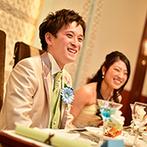ミ・ピアーチェ:兄弟全員で一列に並び、賑やかに中座!スポットライトの先には、かわいらしいミニ花嫁&花婿の姿が