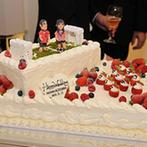 アルモニーサンク ウエディングホテル(HARMONIE CINQ WEDDING HOTEL):貸切空間を自在にコーディネートしたり、オリジナルケーキが登場したりとプライベート感満載の披露宴に