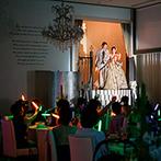 ルシアスガーデン(Luscious Garden):工夫を凝らした入場シーンに、ゲストの視線が集中!ゲスト参加型の衣裳色当てクイズも大いに盛り上がった