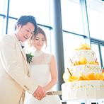 NIIGATA MONOLITH(新潟モノリス):バックから差し込む自然光がパーティシーンを引き立てる。白×オレンジのケーキや美味しい料理に大満足の声