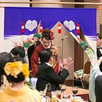 金沢ニューグランドホテル:金沢の風習に倣って、花嫁のれんをくぐる再入場。広々とした会場とスタッフの提案で、父と娘の絆が深まった