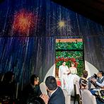 宮の森フランセス教会:厳かな挙式から一転、華やかでアットホームな披露宴。写真共有サービスを使った全員参加の楽しい演出も