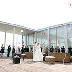 ホテル日航新潟:信濃川の美しい景色を望む、白亜のチャペルが舞台。アフターセレモニーでは、バルーンリリースを満喫
