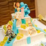 グランダルシュ ウエディングヒルズ:趣味のスノーボードをアイテムやケーキにも取り入れたパーティ。美味しい料理やデザートの数々に大満足