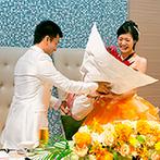 ORIENTAL KYOTO SUZAKU-TEI 朱雀邸:ゲストと心を通わせるアットホームなひと時。新郎から新婦へのサプライズでは会場中が温かなムードになった