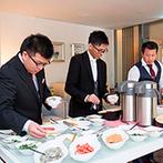 ORIENTAL KYOTO SUZAKU-TEI 朱雀邸:透明感あふれる品のあるパーティ会場で、美食のおもてなしを。お寿司&お茶漬けビュッフェも大好評!