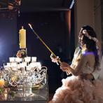Wedding Terrace(ウエディングテラス):ドレスを照らすガラスの階段やキャンドル点火など、美しい光が彩るパーティで、全員に感謝の気持ちを伝えた
