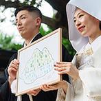 名古屋 河文:ふたりの共通の趣味は『登山』。だからこそ8月11日の山の日を結婚式として選び随所にらしさをちりばめた