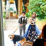 BLEU LEMAN 名古屋(ブルーレマン ナゴヤ):ペット参加OKの会場で、愛犬たちとの再入場シーンも思い出に。友人たちの余興やプロポーズシーンも満喫