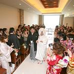 YOKKAICHI HARBOR 尾上別荘:チャペルに和装で登場!オリジナリティ満載の人前式。水合わせの儀や折鶴シャワーなど「和」で統一した