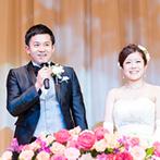 カノビアーノ 福岡:春の披露宴にふさわしくピンクの生花でコーディネート。ケーキ入刀や友人への祝福シーンでふれ合いを満喫!