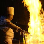 ノートルダム神戸 Notre Dame KOBE:炎のフランベ演出や、贅沢な美食はゲストに大好評!お互いに用意したサプライズ演出で会場は大盛り上がり