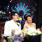 YOKOHAMA MONOLITH(横浜モノリス):メイン席のバックには思い出の観覧車。「シークレットガーデン」をコンセプトにつくり上げた夜のパーティ