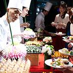 YOKOHAMA MONOLITH(横浜モノリス):和菓子を中心にした色とりどりのデザートビュッフェに気持ちが華やいだ。ゲストの笑顔がふたりの宝物に