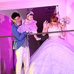 アールベルアンジェ富山:プロジェクションマッピング&ペンライトが彩るカラードレス色当てクイズ。親子三人での再入場に拍手喝采!