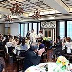 KIYOMIZU京都東山:クラシカル&モダンな上質感が漂う、2階会場での祝宴。お互いの地元の食材を生かしたオリジナル料理も実現