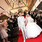 代官山 鳳鳴館:厳かなチャペル式の後は、大階段のレッドカーペットで映画のワンシーンのようなフラワーシャワーを満喫!