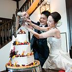 代官山 鳳鳴館:オリジナルケーキにメープルシロップをかける初めての共同作業。ゆとりのある進行でゲストと寛ぎのひと時を