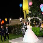 セントポーリア教会 シャルム・ド・ナチュール:キャンドルやイルミネーション、花火が彩るナイトパーティ。夜空に幸せが舞いあがるバルーンリリースも!