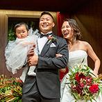 旧桜宮公会堂(国登録重要文化財):親子三人でリメイク入場し、幸せな笑顔を振りまいた!シェフのメニュー紹介で料理の美味しさも一段とアップ