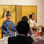 ベルクラシック防府:衣裳や装飾で雰囲気を楽しむ、3部構成の祝宴。格式の高い和の装いで、平安時代にタイムスリップしたよう!