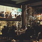 辻家庭園 ~前田家家老旧横山家迎賓館~(金沢市指定文化財):庭園の景色が夕暮れに染まる、トワイライトタイムからの披露宴。大好きな薔薇の花も自然な雰囲気で映えた