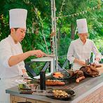 ブランシュメゾン:自由にコーディネートした貸切レストランで温かなパーティ。テラスでのバーベキューやビュッフェも大盛況!