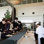 T'SUKI sur la mer(ツキ シュール ラ メール):船上を思わせるレストランで贅沢なおもてなし。オリジナルドリンクや絶品料理、寿司ビュッフェも喜ばれた
