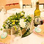 """エミリア(Wedding Court EMILIA):ふたりがゲストに伝えたい""""ありがとう""""が結婚式のテーマ。装花からアイテム、演出まで感謝を込めた"""