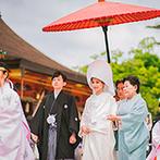 KOTOWA 京都 八坂(コトワ 京都 八坂):花嫁行列による参進の儀、大勢の列席者が見守る神前式で、夫婦の絆を実感。花嫁人力車のひと時も思い出に