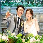 アルカンシエル luxe mariage大阪:会場の雰囲気を活かした癒しの装飾でゲストもリラックス。目でも舌でも楽しめる料理に喜びの声が続々