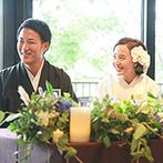THE KIKUSUIRO NARA PARK (菊水楼):大きな窓から緑豊かなガーデンが広がる会場でゲストをおもてなし。お茶漬けビュッフェが大好評!