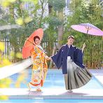 ララシャンス HIROSHIMA迎賓館:センスの良いカメラマンのおかげで、前撮りも大満足!スタッフも撮影に協力してくれ、オリジナル映像が完成